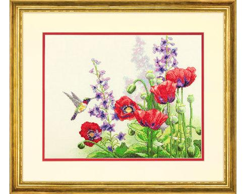 Hummingbird and Poppies (35344)