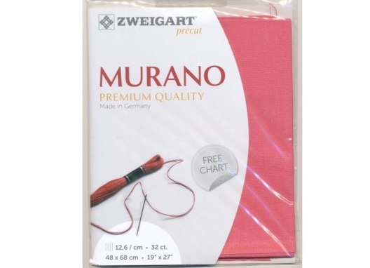 Evenweave Murano (32 ct). Sp. Pink (4077), 48x68 cm