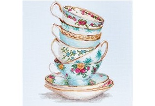 .Turquoise Themed Tea Cups (Luca-S B2325)